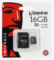 Карта памяти micro SD 16Gb Kingston, Class 10 с адаптером SD 45Mb/s Read