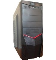 Корпус перс. компьютера ATX Miditower Wincase WKS-5042 450W БП 12cm black-red (fan led red 12cm)